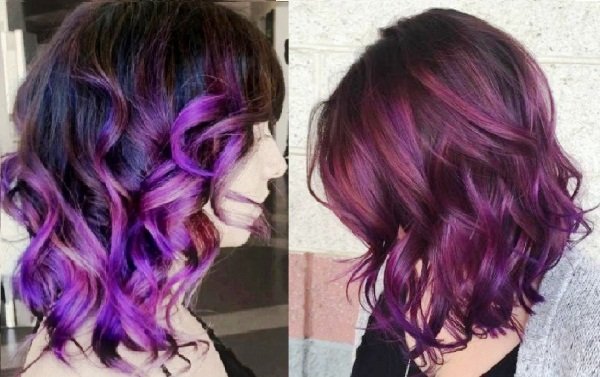 Коричнево-фиолетовый цвет волос. Фото, краски, кому идёт, инструкции окрашивания