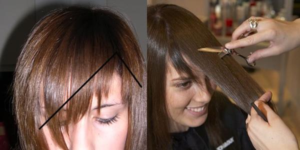 Косая челка с уголком над бровью. Фото, как стричь рваную на длинные и средние волосы