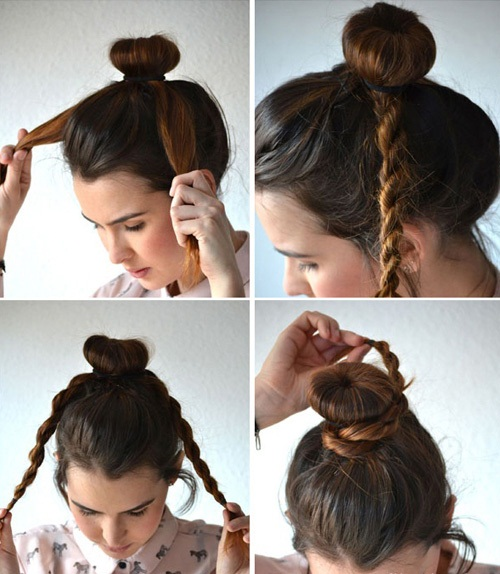 Прически с бубликом на длинные волосы. Фото, как сделать пошагово