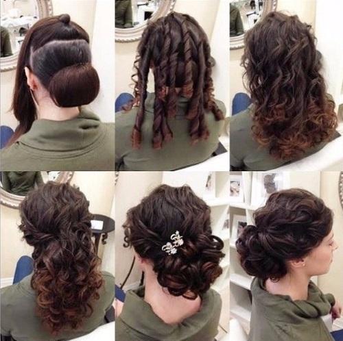 Прически на вечер на средние волосы с челкой и без. Фото, как сделать пошагово