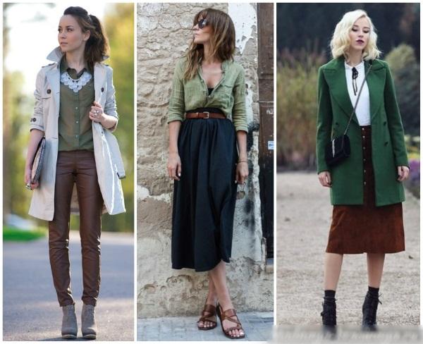 Сочетание зеленого с другими цветами в одежде. Оттенки, колористика, фото