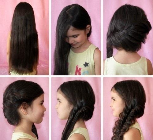 Быстрые и красивые прически для девочек на средние, длинные волосы. Фото