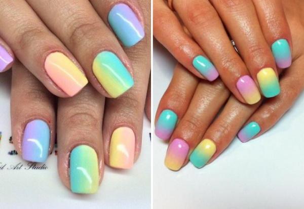 Разноцветные дизайны ногтей, маникюр с полосками, разводами, втиркой. Фото