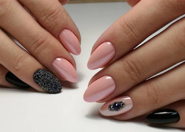 Дизайн ногтей розовый с черным. Фото, новинки с блестками, стразами, серебряным кружевом, рисунком