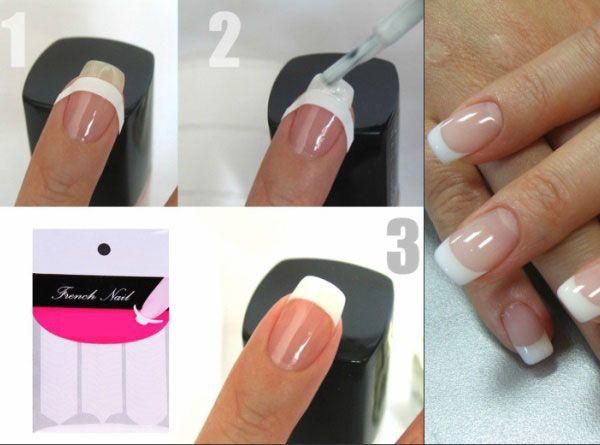 Френч на миндалевидные ногти с дизайном. Фото новинки красивый, нежный
