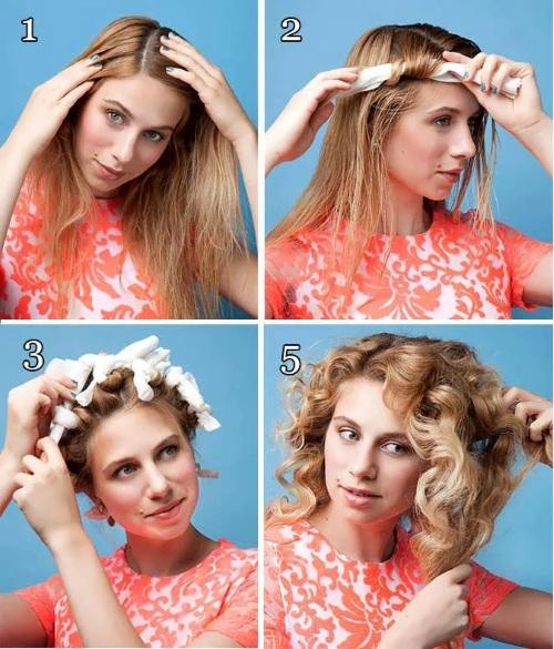 Как сделать кудряшки на средние волосы без плойки и бигуди, утюжка, за 5 минут. Фото