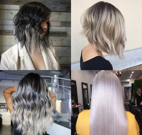 Пепельный цвет на темные короткие и длинные волосы. Фото, техники стрижки