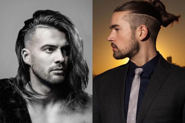 Модные прически для парней с длинными волосами, челкой, на бок, налысо, красивые. Фото