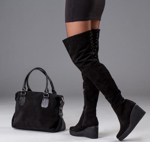 Ботфорты замшевые без каблука, на шпильке, зимние, осенние. Фото, с чем носить