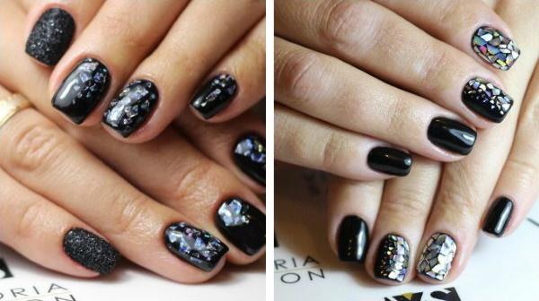 Черный маникюр с дизайном на короткие ногти гель-лаком. Фото, идеи