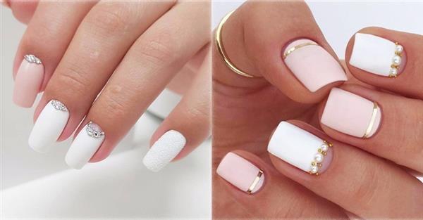 Дизайн ногтей с белым лаком. Фото с блестками, втиркой, цветами