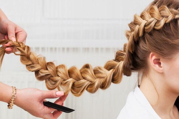 Объемная коса на длинные волосы для девочек. Фото, пошаговое плетение с резинками, на бок