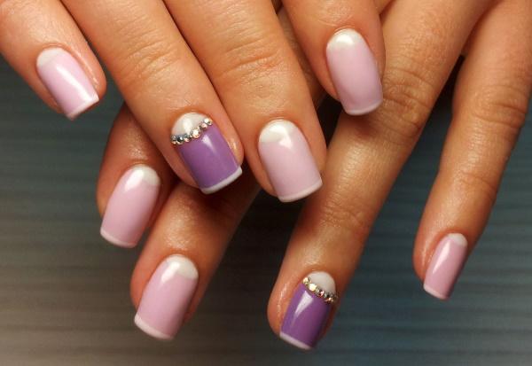 Дизайн ногтей сиреневого цвета. Фото с рисунком, блестками, стразами, серебром, золотом, сочетания с другими цветами