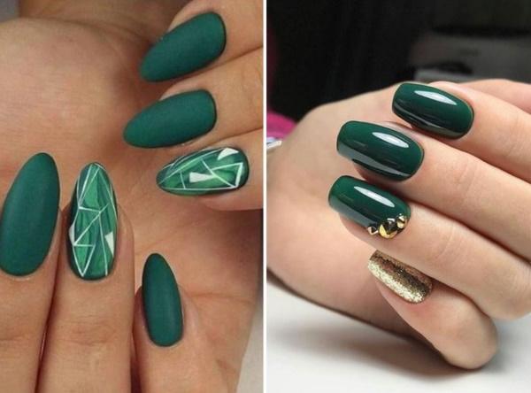 Маникюр в зеленых тонах. Фото гель-лак на длинные, короткие ногти. Новинки