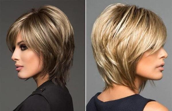 Стрижка для худого вытянутого лица, тонких волос с высоким лбом женская. Фото