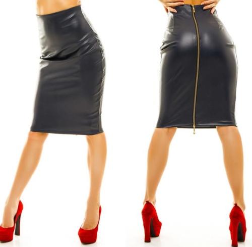 Кожаные юбки с замком спереди, запахом, молнией. Фото, с чем носить