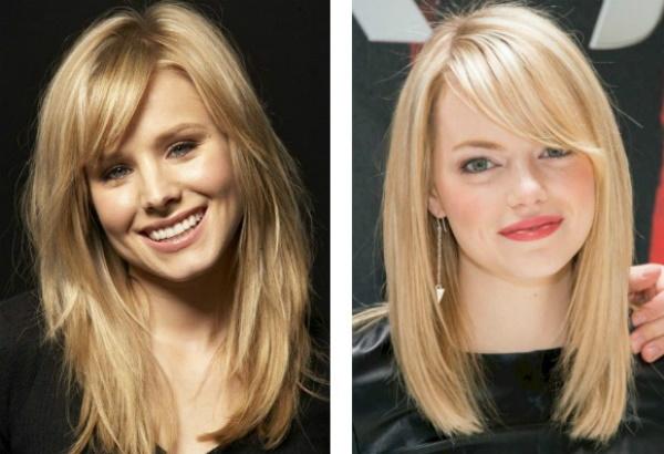 Стрижки на длинные волосы с косой челкой для женщин. Фото