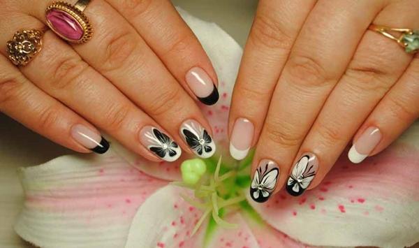 Маникюр на овальные ногти. Фото с блестками, нежные тона с рисунком, стразами, втиркой, надписями