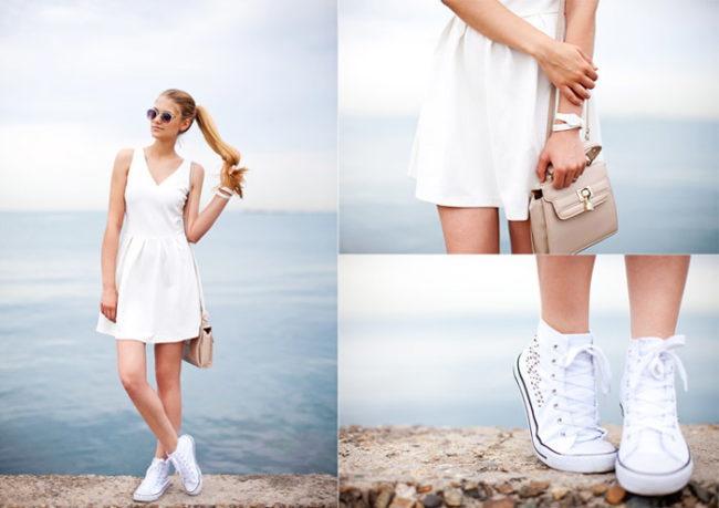 Как носить платье с кедами. Фото для невысоких, полных девушек, правильные образы