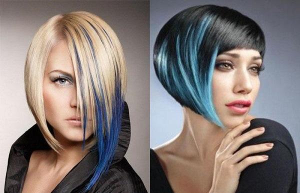 Синие волосы у девушек. Фото каре, короткая стрижка, средней длины