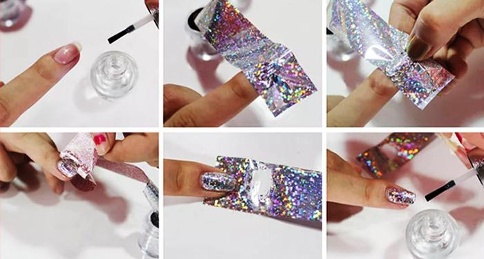 Как приклеить фольгу на ногти с/без клея на гель-лак. Инструкция, фото