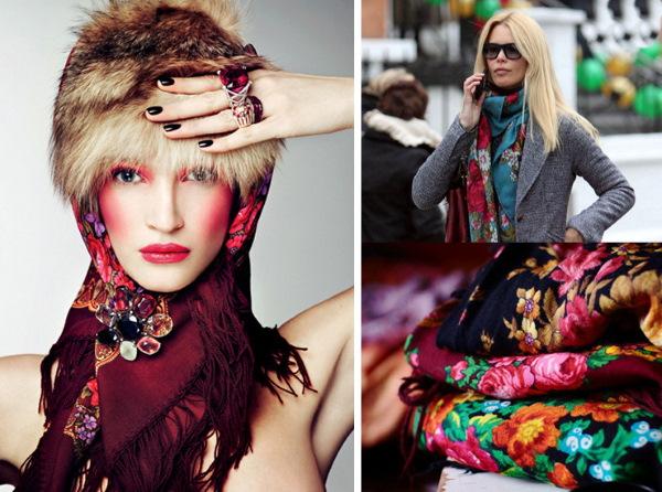 Как носить павлопосадский платок на голове. Фото с пальто, шубой, пуховиком, платьем